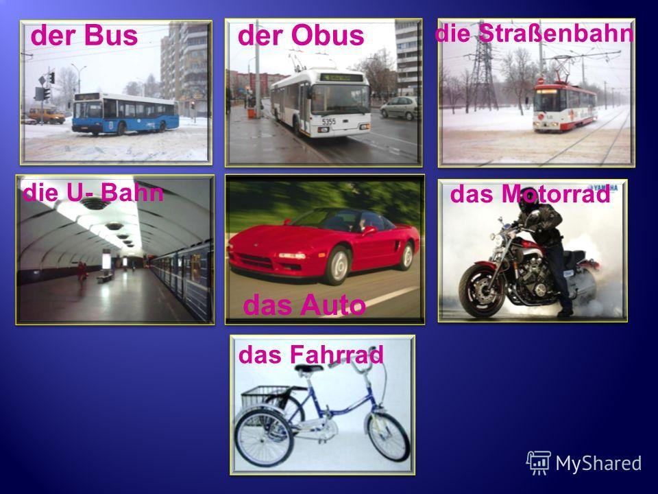 der Busder Obus die Straßenbahn das Auto das Motorrad das Fahrrad die U- Bahn