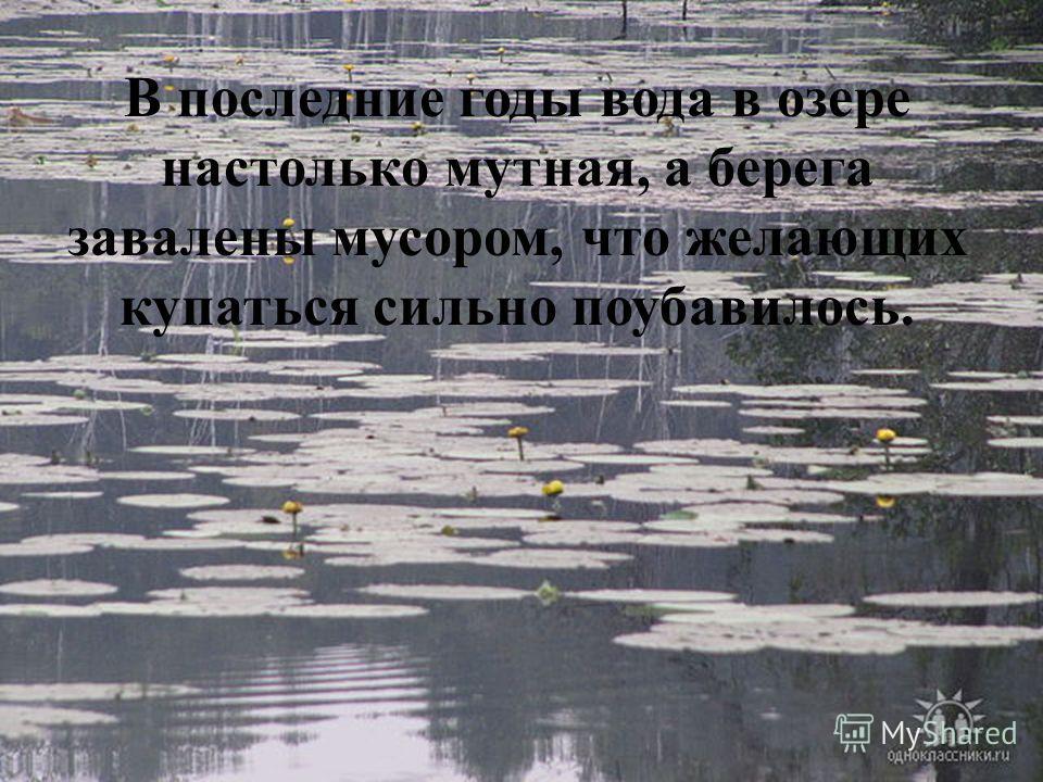 В последние годы вода в озере настолько мутная, а берега завалены мусором, что желающих купаться сильно поубавилось.