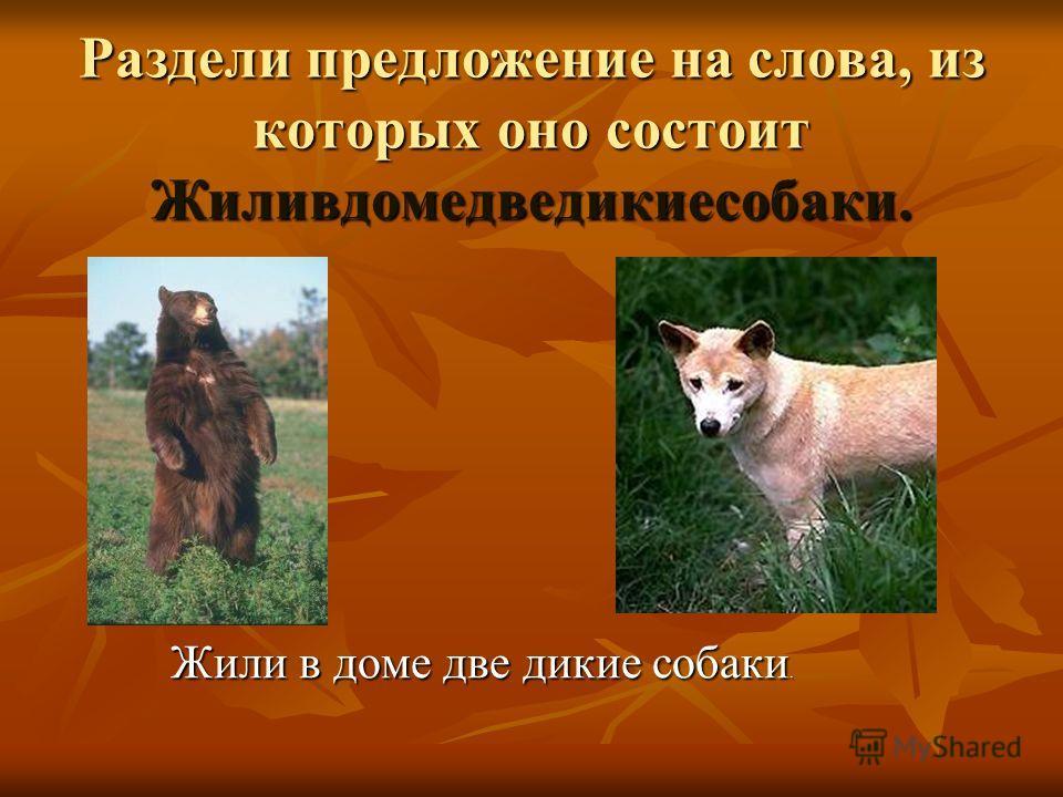 Раздели предложение на слова, из которых оно состоит Жиливдомедведикиесобаки. Жили в доме две дикие собаки.
