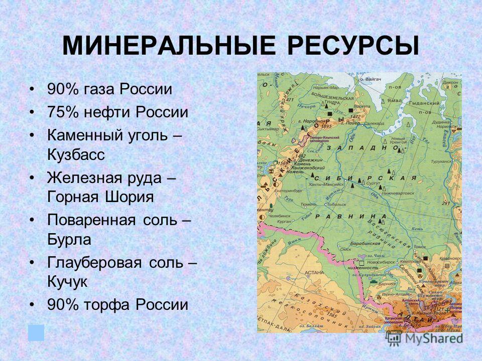 МИНЕРАЛЬНЫЕ РЕСУРСЫ 90% газа России 75% нефти России Каменный уголь – Кузбасс Железная руда – Горная Шория Поваренная соль – Бурла Глауберовая соль – Кучук 90% торфа России