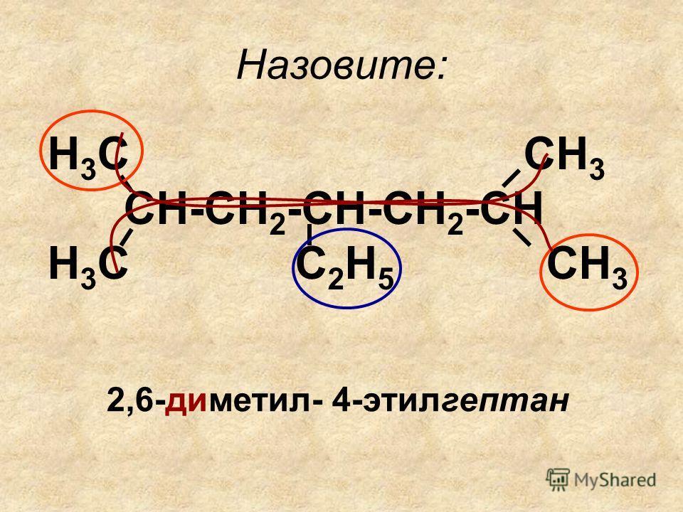 Назовите: Н 3 С СН 3 СН-СН 2 -СН-СН 2 -СН Н 3 С С 2 Н 5 СН 3 2,6-диметил- 4-этилгептан