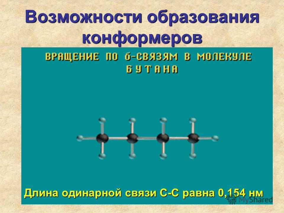 Возможности образования конформеров Длина одинарной связи С-С равна 0,154 нм