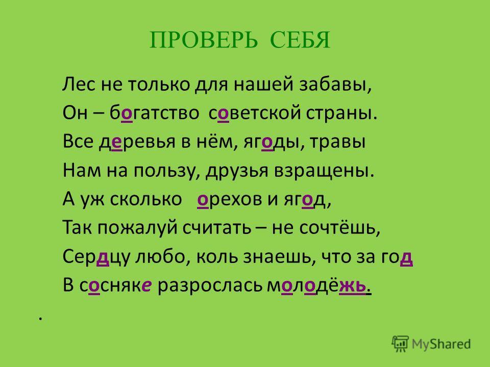 Лес не только для нашей забавы, Он – богатство советской страны. Все деревья в нём, ягоды, травы Нам на пользу, друзья взращены. А уж сколько орехов и ягод, Так пожалуй считать – не сочтёшь, Сердцу любо, коль знаешь, что за год В сосняке разрослась м