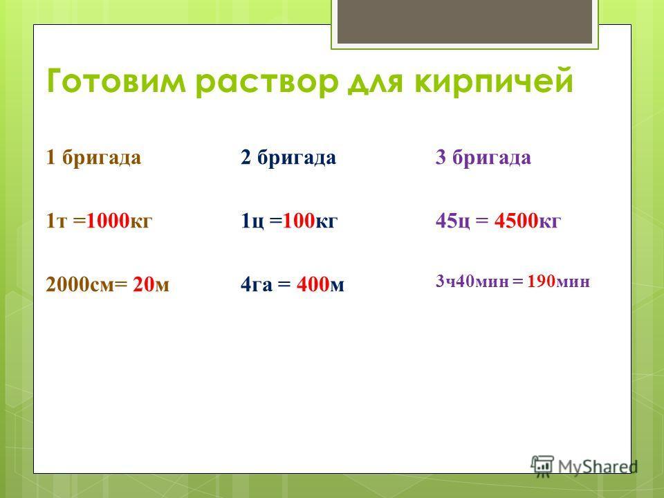 Готовим раствор для кирпичей 1 бригада 1т =1000кг 2000см= 20м 2 бригада 1ц =100кг 4га = 400м 3 бригада 45ц = 4500кг 3ч40мин = 190мин