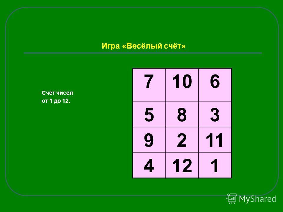 Игра «Весёлый счёт» Счёт чисел от 1 до 12. 7106 583 9211 4121