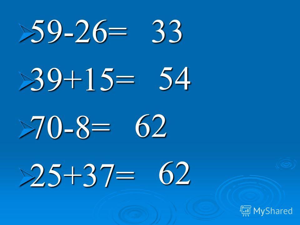 59-26= 59-26= 39+15= 39+15= 70-8= 70-8= 25+37= 25+37=33 54 62 62