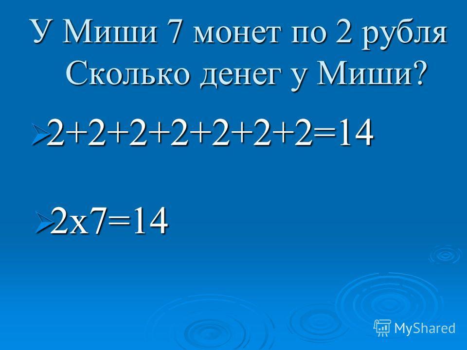 У Миши 7 монет по 2 рубля Сколько денег у Миши? У Миши 7 монет по 2 рубля Сколько денег у Миши? 2+2+2+2+2+2+2=14 2+2+2+2+2+2+2=14 2х7=14 2х7=14