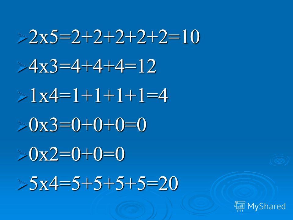 2x5=2+2+2+2+2=10 2x5=2+2+2+2+2=10 4x3=4+4+4=12 4x3=4+4+4=12 1x4=1+1+1+1=4 1x4=1+1+1+1=4 0x3=0+0+0=0 0x3=0+0+0=0 0x2=0+0=0 0x2=0+0=0 5x4=5+5+5+5=20 5x4=5+5+5+5=20