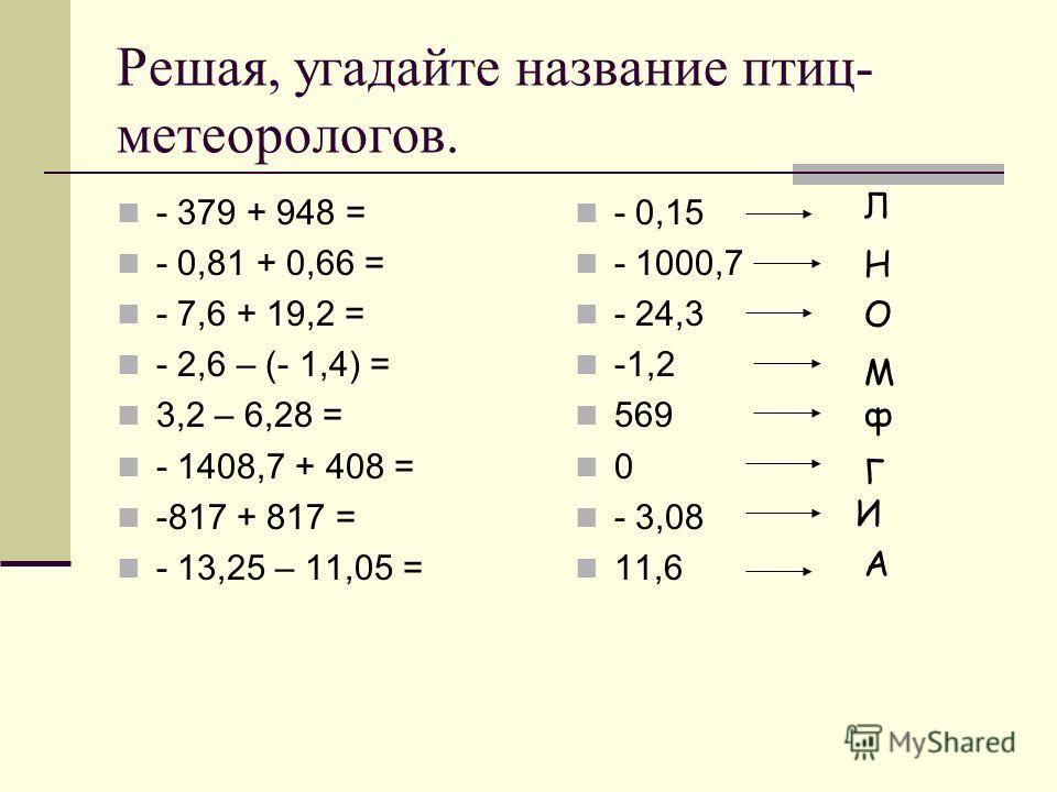Решая, угадайте название птиц- метеорологов. - 379 + 948 = - 0,81 + 0,66 = - 7,6 + 19,2 = - 2,6 – (- 1,4) = 3,2 – 6,28 = - 1408,7 + 408 = -817 + 817 = - 13,25 – 11,05 = - 0,15 - 1000,7 - 24,3 -1,2 569 0 - 3,08 11,6 Л Н О М ф Г И А