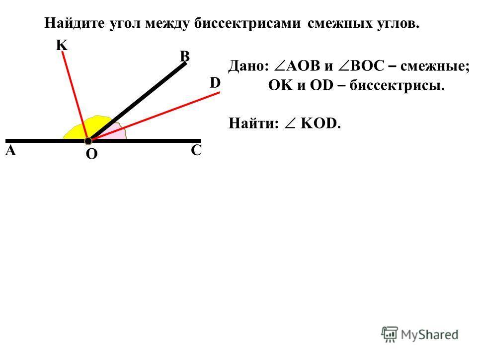 AC B O K D Найдите угол между биссектрисами смежных углов. Дано: AOB и BOC – смежные; OK и OD – биссектрисы. Найти: KOD.
