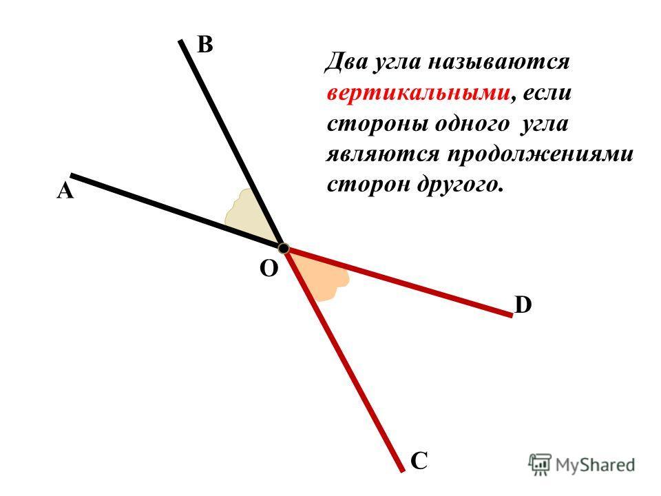 А В О С D Два угла называются вертикальными, если стороны одного угла являются продолжениями сторон другого.