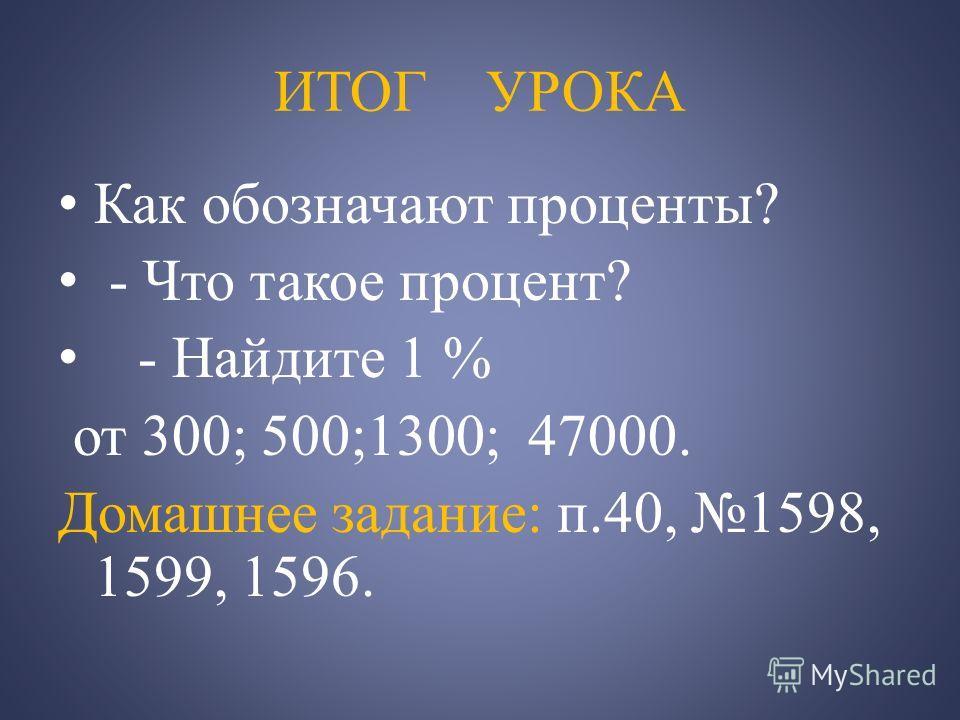 ИТОГ УРОКА Как обозначают проценты? - Что такое процент? - Найдите 1 % от 300; 500;1300; 47000. Домашнее задание: п.40, 1598, 1599, 1596.