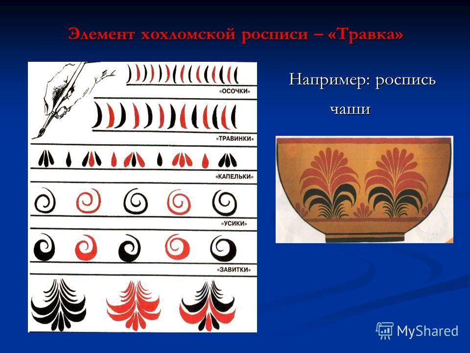 Элемент хохломской росписи – «Травка» Например: роспись Например: роспись чаши чаши