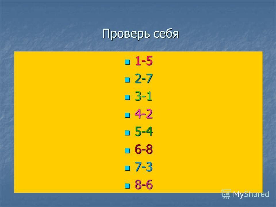 Проверь себя 1-5 1-5 2-7 2-7 3-1 3-1 4-2 4-2 5-4 5-4 6-8 6-8 7-3 7-3 8-6 8-6
