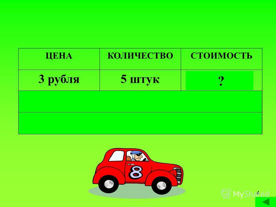 Сечкина И.А.4 ЦЕНАКОЛИЧЕСТВОСТОИМОСТЬ 3 рубля5 штук 15 рублей 4 рубля 4 штуки16 рублей 7 рублей 6 штук 42 рубля ? ? ?