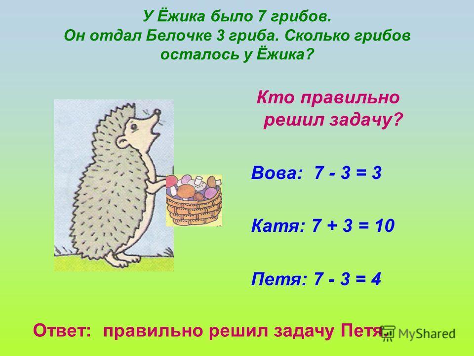У Ёжика было 7 грибов. Он отдал Белочке 3 гриба. Сколько грибов осталось у Ёжика? Кто правильно решил задачу? Вова: 7 - 3 = 3 Катя: 7 + 3 = 10 Петя: 7 - 3 = 4 Ответ: правильно решил задачу Петя.