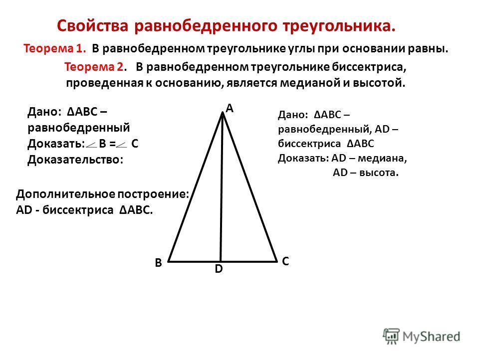 Свойства равнобедренного треугольника. В С А Дано: АВС – равнобедренный Доказать: В = С Доказательство: Теорема 2. В равнобедренном треугольнике биссектриса, проведенная к основанию, является медианой и высотой. Теорема 1. В равнобедренном треугольни