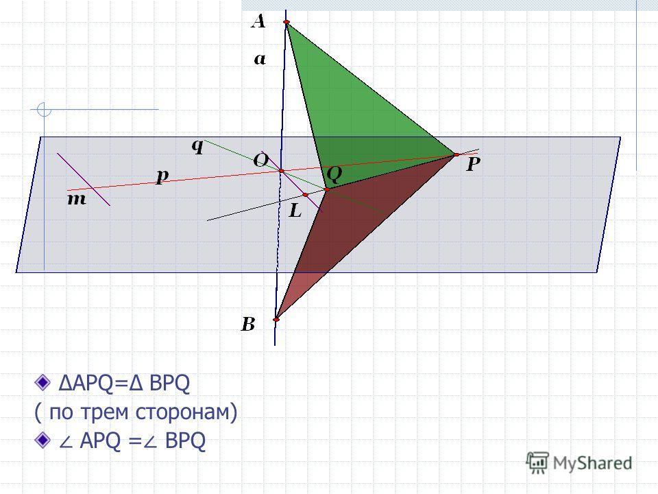 APQ= BPQ ( по трем сторонам) APQ = ВPQ