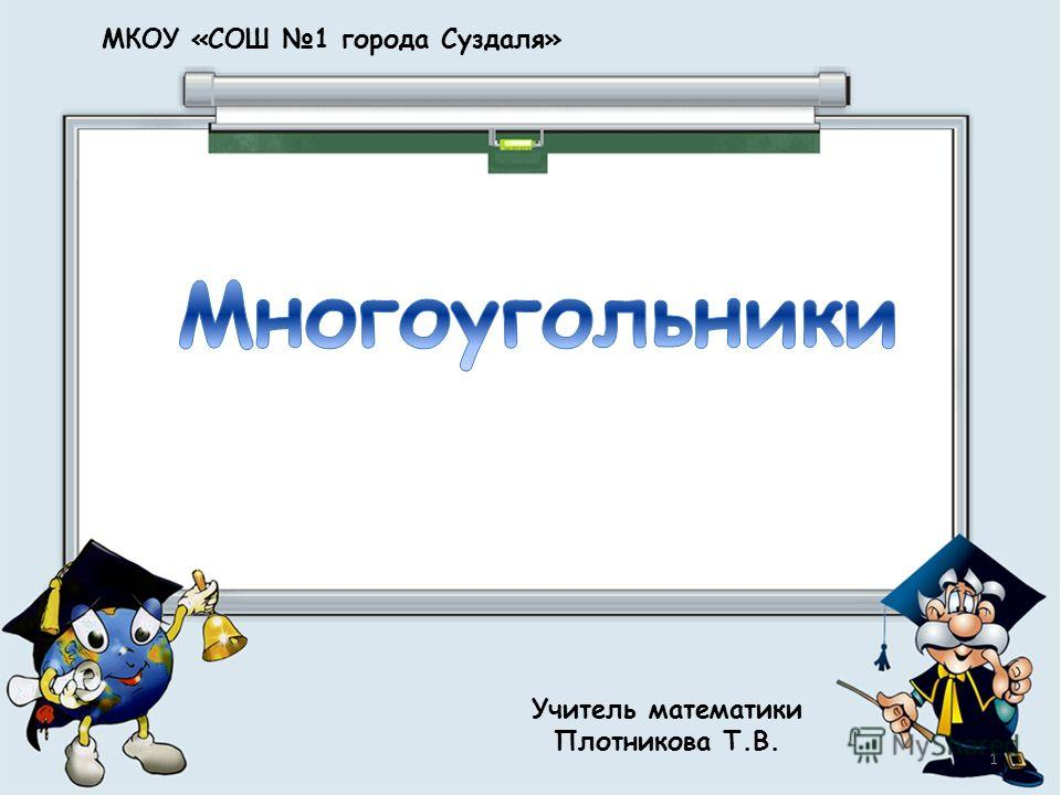 МКОУ «СОШ 1 города Суздаля» Учитель математики Плотникова Т.В. 1