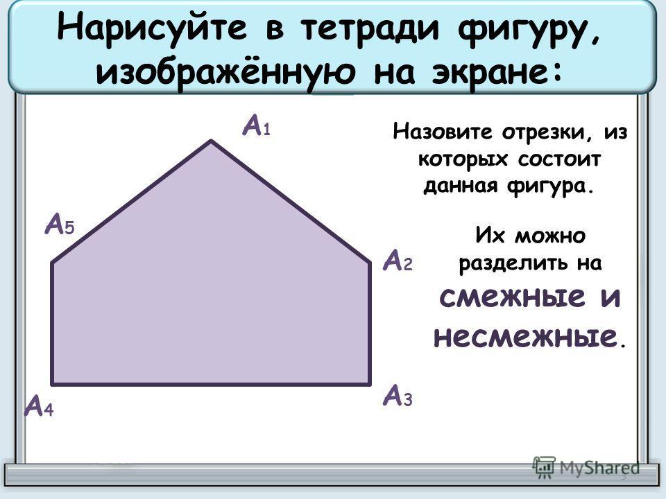 Нарисуйте в тетради фигуру, изображённую на экране: А1А1 А2А2 А3А3 А4А4 А5А5 Назовите отрезки, из которых состоит данная фигура. Их можно разделить на смежные и несмежные. 3