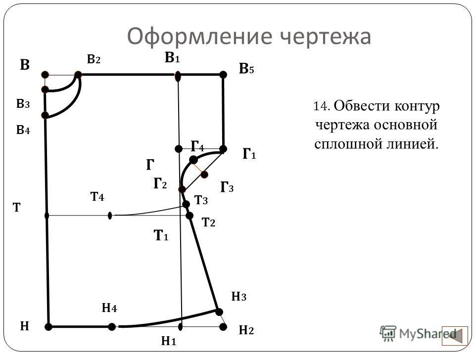 Оформление чертежа В Н 14. Обвести контур чертежа основной сплошной линией. Н1Н1 В2В2 В3В3 В4В4 Г В1В1 В5В5 Г1Г1 Г2Г2 Г4Г4 Г3Г3 Н2Н2 Н3Н3 Н4Н4 Т Т3Т3 Т2Т2 Т4Т4 Т1Т1