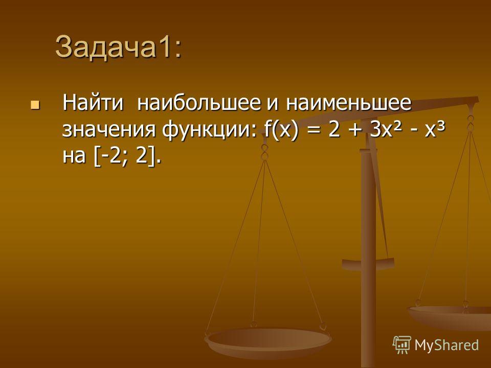 Задача1: Задача1: Найти наибольшее и наименьшее значения функции: f(х) = 2 + 3х² - х³ на [-2; 2]. Найти наибольшее и наименьшее значения функции: f(х) = 2 + 3х² - х³ на [-2; 2].