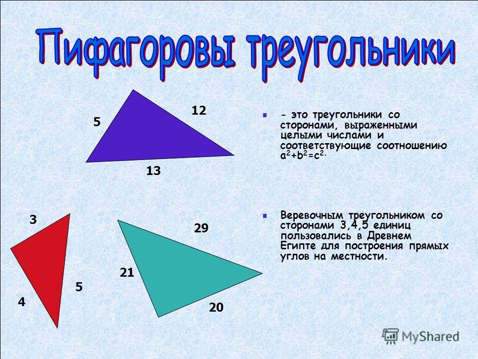 - это треугольники со сторонами, выраженными целыми числами и соответствующие соотношению а 2 +b 2 =с 2. Веревочным треугольником со сторонами 3,4,5 единиц пользовались в Древнем Египте для построения прямых углов на местности. 12 5 13 3 4 5 21 20 29