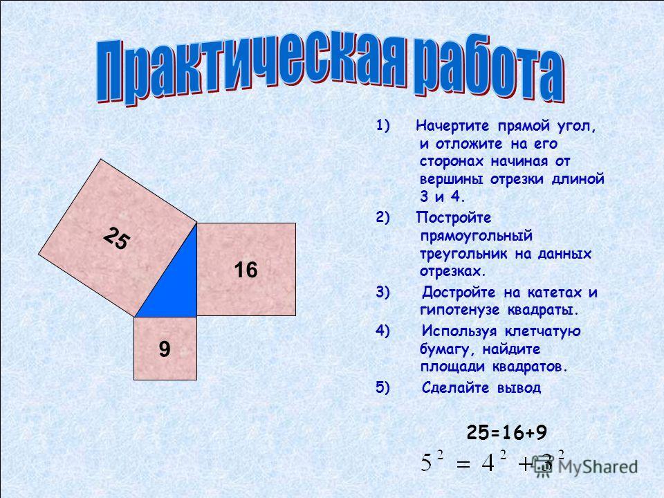 1) Начертите прямой угол, и отложите на его сторонах начиная от вершины отрезки длиной 3 и 4. 2) Постройте прямоугольный треугольник на данных отрезках. 3) Достройте на катетах и гипотенузе квадраты. 4) Используя клетчатую бумагу, найдите площади ква