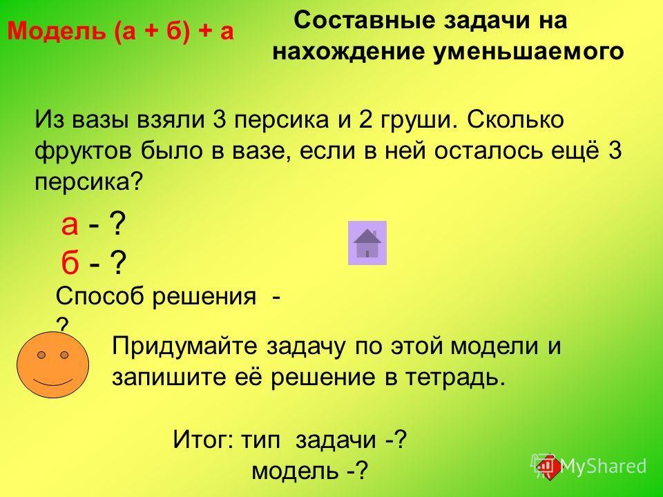 Из вазы взяли 3 персика и 2 груши. Сколько фруктов было в вазе, если в ней осталось ещё 3 персика? а - ? б - ? Способ решения - ? Модель (а + б) + а Придумайте задачу по этой модели и запишите её решение в тетрадь. Составные задачи на нахождение умен
