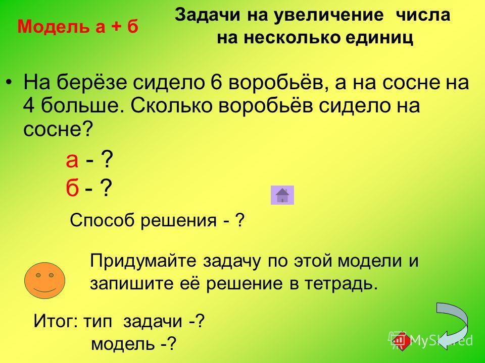 На берёзе сидело 6 воробьёв, а на сосне на 4 больше. Сколько воробьёв сидело на сосне? а - ? б - ? Способ решения - ? Придумайте задачу по этой модели и запишите её решение в тетрадь. Модель а + б Итог: тип задачи -? модель -? Задачи на увеличение чи