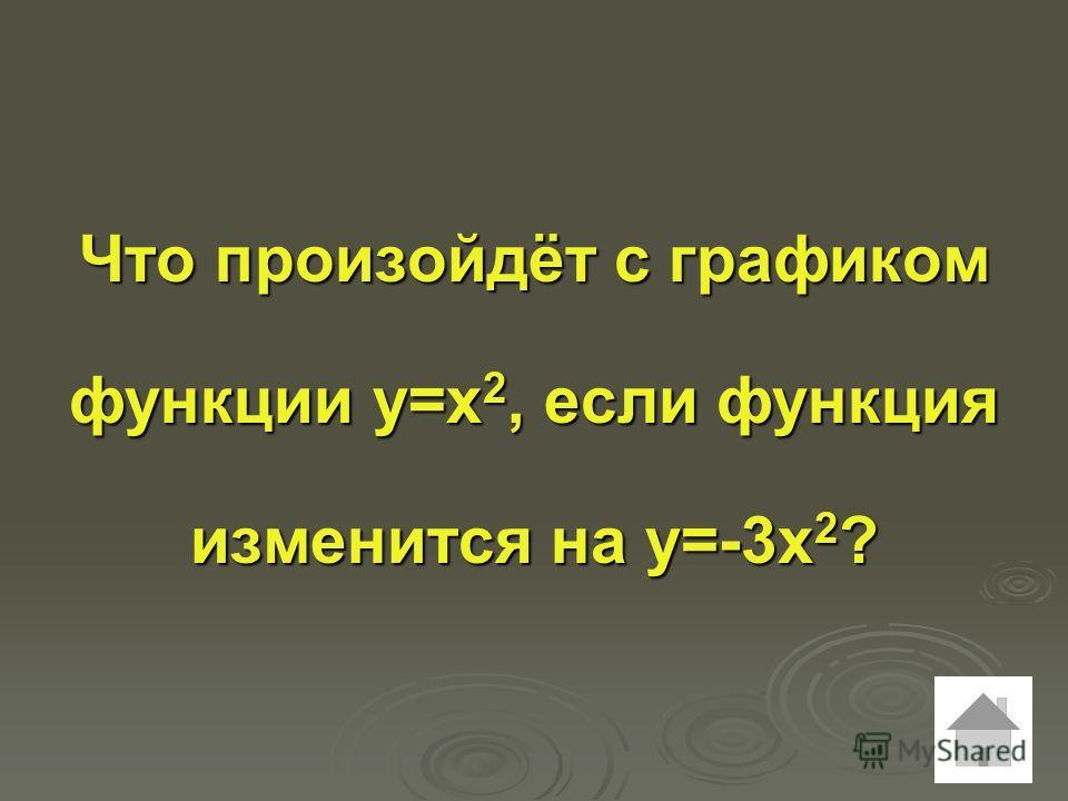 Что произойдёт с графиком функции у=х 2, если функция изменится на у=-3х 2 ?