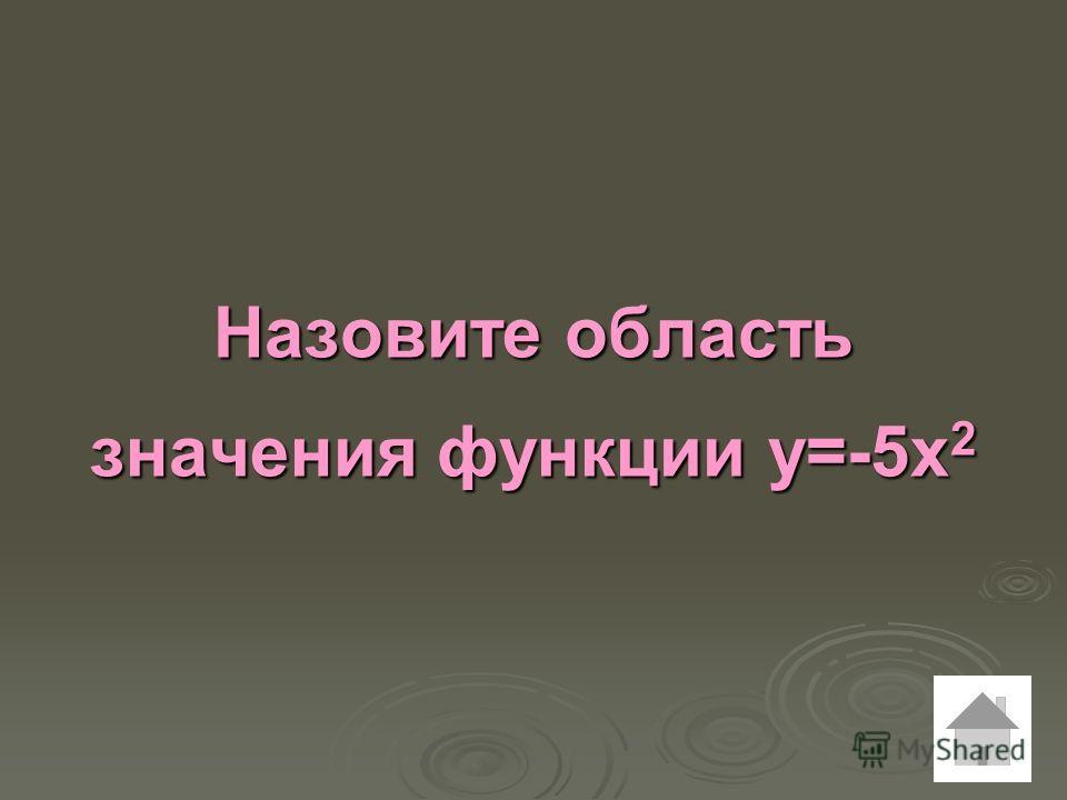 Назовите область значения функции у=-5х 2
