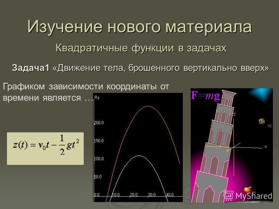 Изучение нового материала Квадратичные функции в задачах Задача1 «Движение тела, брошенного вертикально вверх» Графиком зависимости координаты от времени является ….