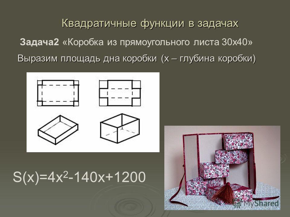 Выразим площадь дна коробки (х – глубина коробки) Квадратичные функции в задачах Задача2 «Коробка из прямоугольного листа 30х40» S(x)=4x 2 -140x+1200