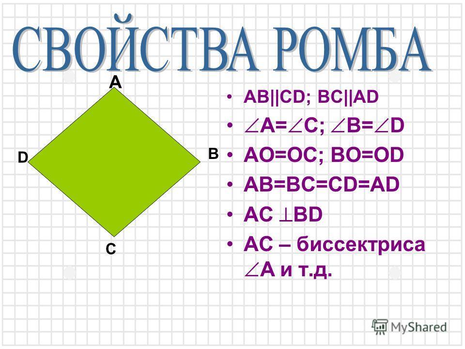 AB||CD; BC||AD A= C; B= D AO=OC; BO=OD AB=BC=CD=AD AC BD AC – биссектриса A и т.д. A B C D