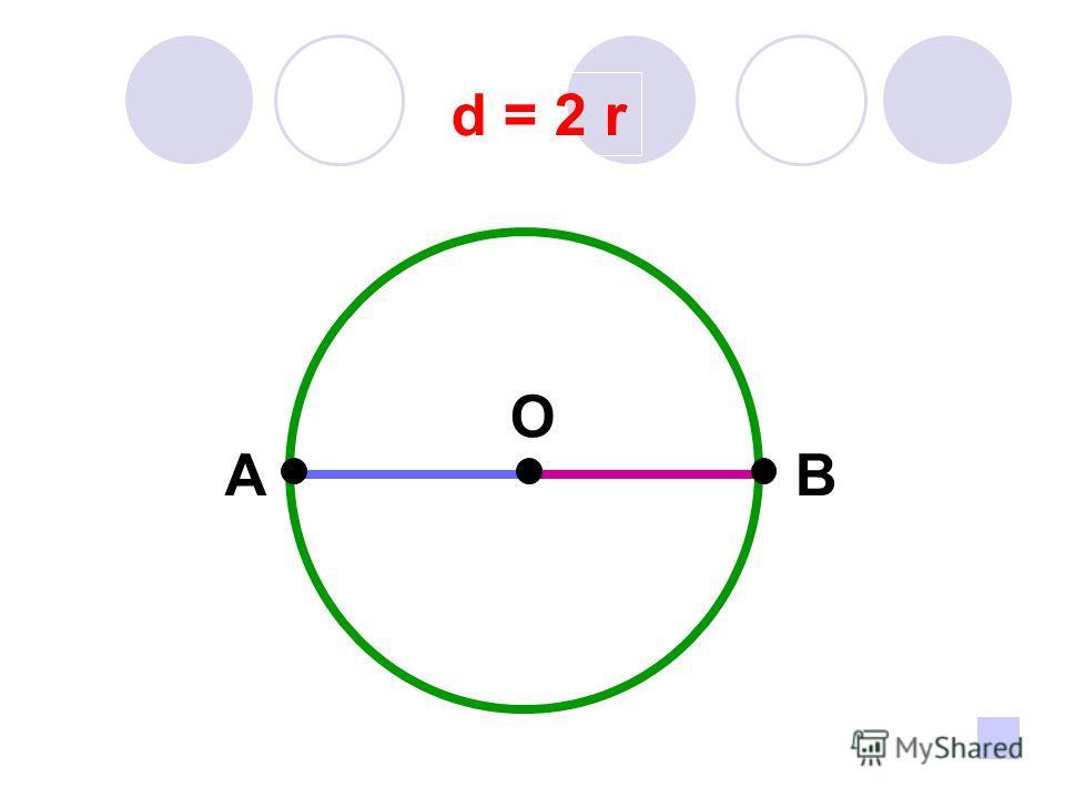 d = 2 r A O B