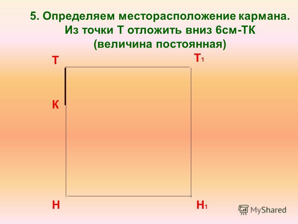 Т Н Т1Т1 Н1Н1 5. Определяем месторасположение кармана. Из точки Т отложить вниз 6см-ТК (величина постоянная) К