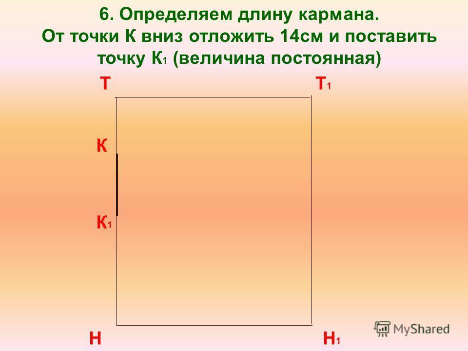 Т Н Т1Т1 Н1Н1 К 6. Определяем длину кармана. От точки К вниз отложить 14см и поставить точку К 1 (величина постоянная) К 1
