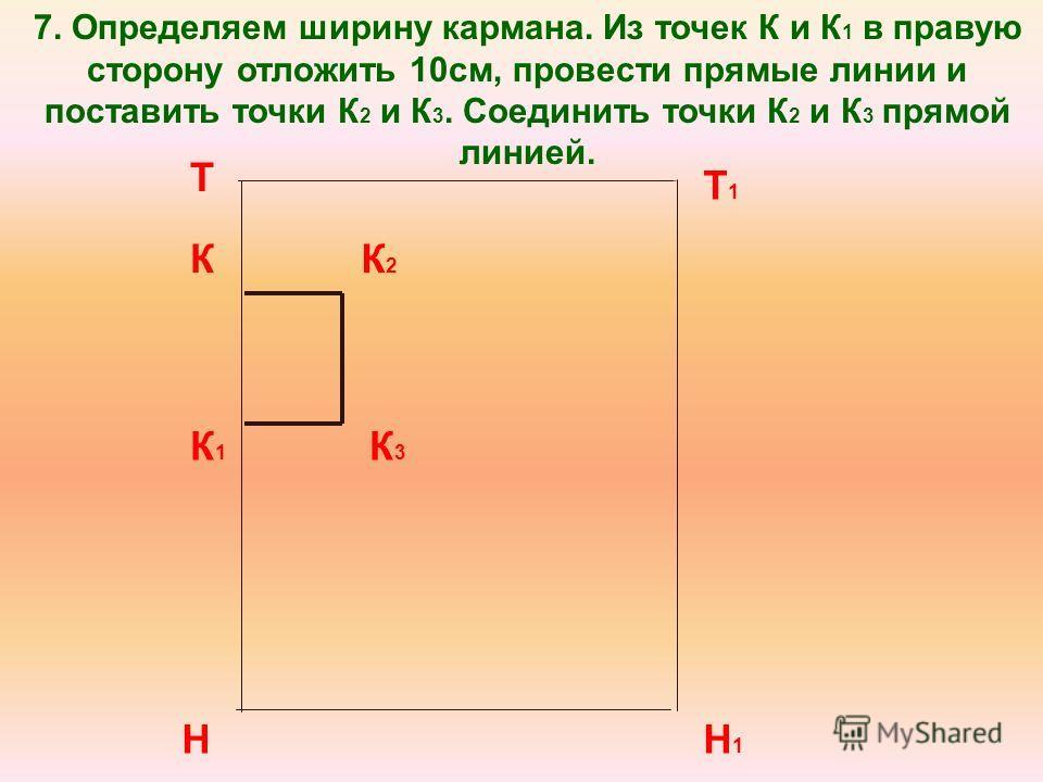 7. Определяем ширину кармана. Из точек К и К 1 в правую сторону отложить 10см, провести прямые линии и поставить точки К 2 и К 3. Соединить точки К 2 и К 3 прямой линией. Т Н Т1Т1 Н1Н1 К К1К1 К 2 К 3
