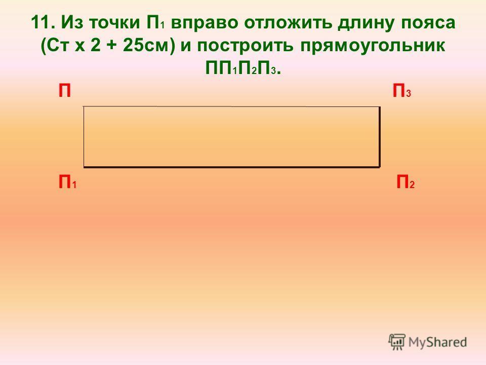 11. Из точки П 1 вправо отложить длину пояса (Ст х 2 + 25см) и построить прямоугольник ПП 1 П 2 П 3. П П1П1 П 2 П 3