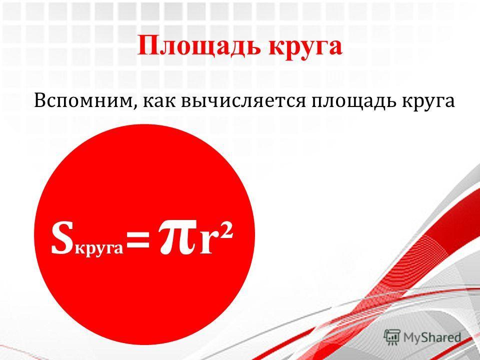 Площадь круга Вспомним, как вычисляется площадь круга S круга = π r²