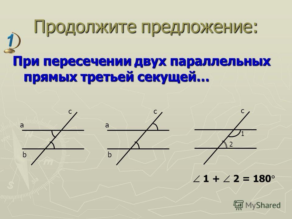 Продолжите предложение: При пересечении двух параллельных прямых третьей секущей… a b c a b c 1 + 2 = 180 c 1 2