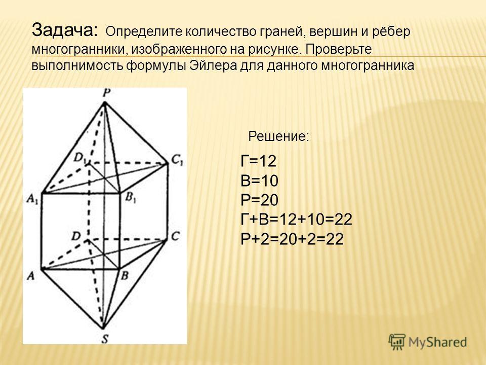 Задача: Определите количество граней, вершин и рёбер многогранники, изображенного на рисунке. Проверьте выполнимость формулы Эйлера для данного многогранника Решение: Г=12 В=10 Р=20 Г+В=12+10=22 Р+2=20+2=22