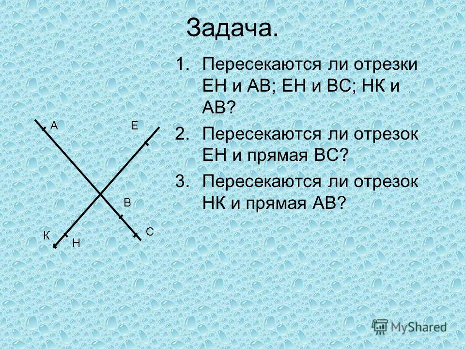 Задача. 1.Пересекаются ли отрезки ЕН и АВ; ЕН и ВС; НК и АВ? 2.Пересекаются ли отрезок ЕН и прямая ВС? 3.Пересекаются ли отрезок НК и прямая АВ? А К Н В С Е
