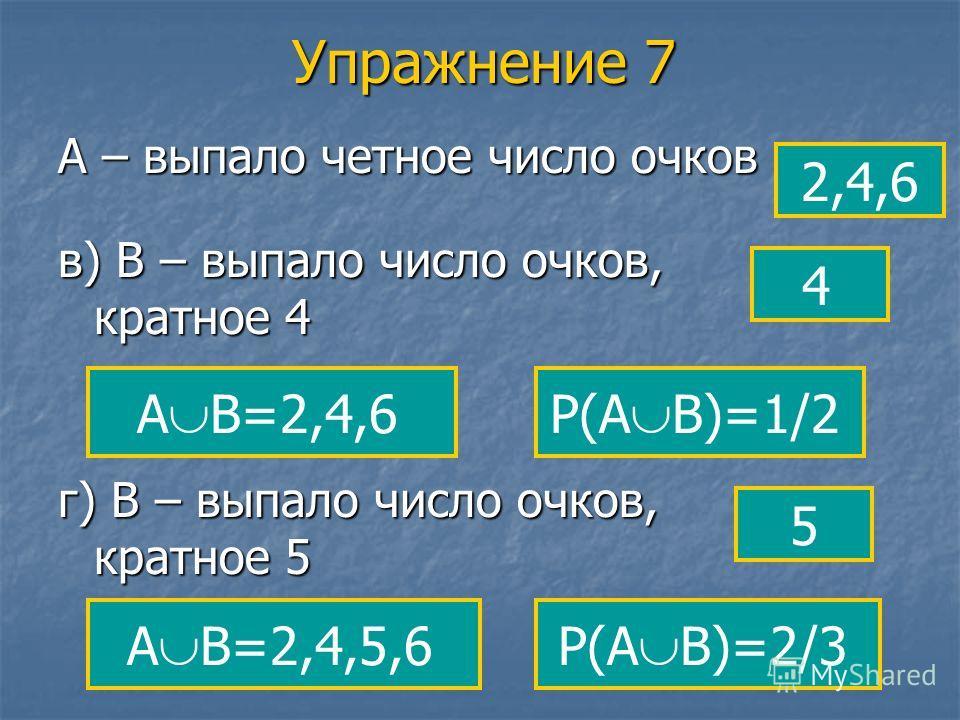 Упражнение 7 А – выпало четное число очков 2,4,6 в) В – выпало число очков, кратное 4 4 А В=2,4,6 г) В – выпало число очков, кратное 5 5 А В=2,4,5,6 Р(А В)=1/2 Р(А В)=2/3