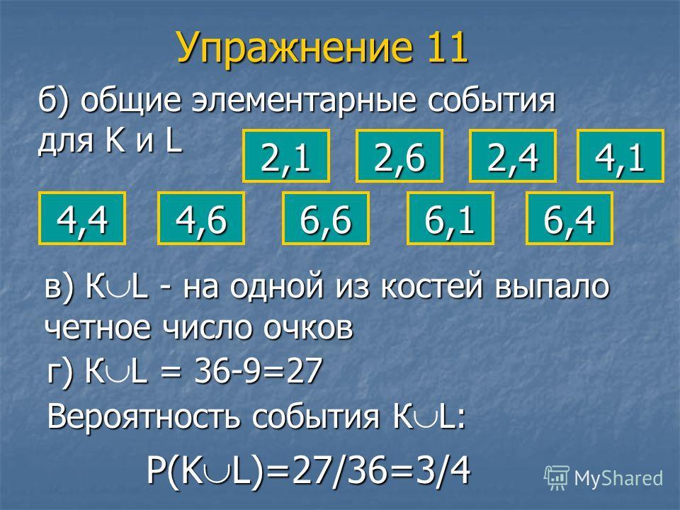 б) общие элементарные события для K и L 2,1 в) К L - на одной из костей выпало четное число очков г) К L = 36-9=27 Вероятность события К L: 2,6 4,64,46,6 2,4 6,1 4,1 6,4 Р(KL)=27/36=3/4