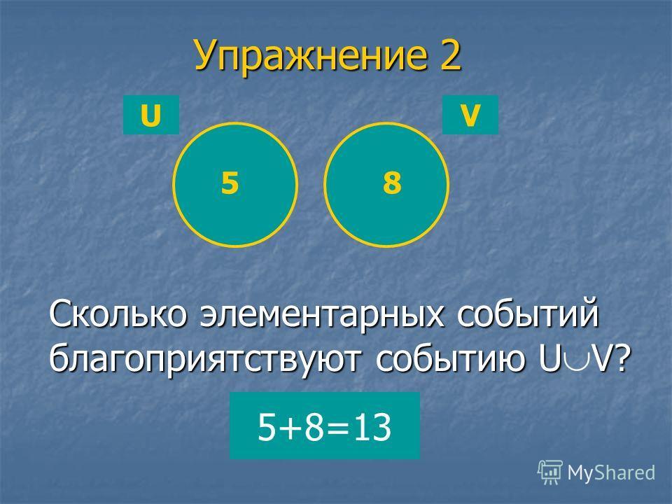 UV Упражнение 2 Сколько элементарных событий благоприятствуют событию U V? 5 5+8=13 8