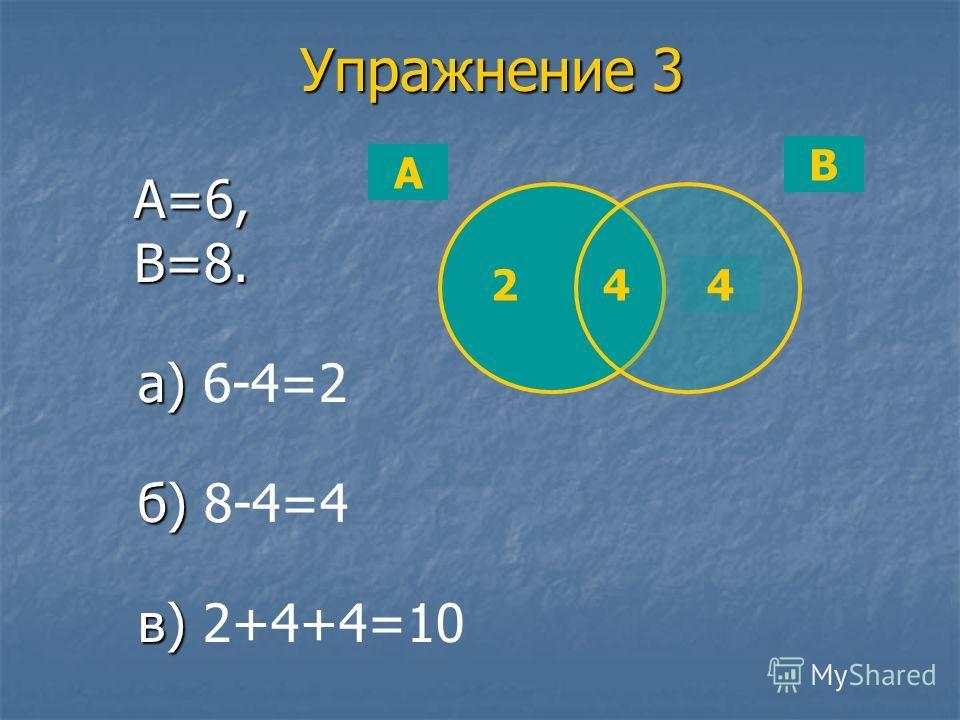 Упражнение 3 А=6, В=8. а) 6-4=2 б) б) 8-4=4 в) 2+4+4=10 А В 244