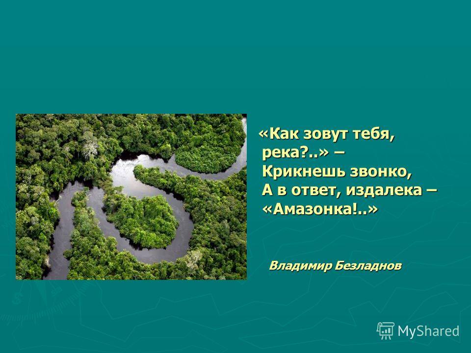 «Как зовут тебя, река?..» – Крикнешь звонко, А в ответ, издалека – «Амазонка!..» Владимир Безладнов