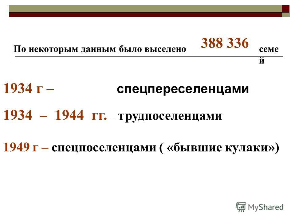 По некоторым данным было выселено 1934 г – спецпереселенцами 1934 – 1944 гг. – трудпоселенцами 1949 г – спецпоселенцами ( «бывшие кулаки») 388 336 семе й